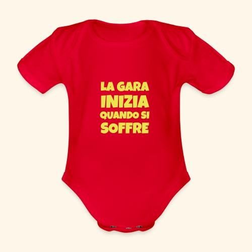 Frase Ironica - La Gara Inizia - FLAT - Body ecologico per neonato a manica corta
