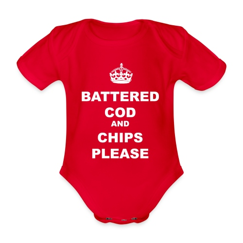 BATTERED COD AND CHIPS PLEASE - Organic Short-sleeved Baby Bodysuit