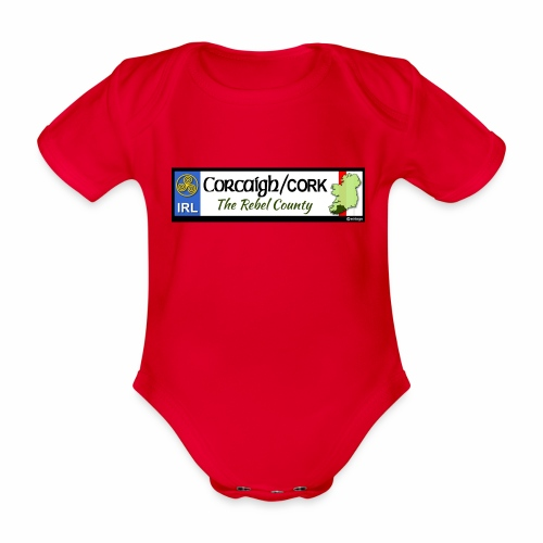 CO. CORK, IRELAND: licence plate tag style decal - Organic Short-sleeved Baby Bodysuit