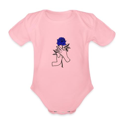 Fiore blu - Body ecologico per neonato a manica corta