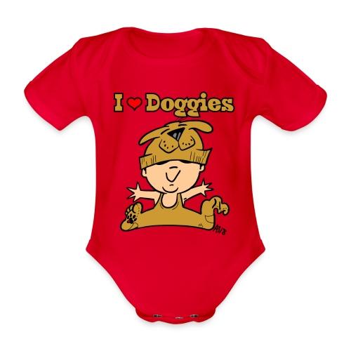 baby i love doggies color - Baby bio-rompertje met korte mouwen
