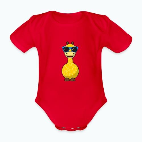 Gigi Giraffe with sunglasses - Appelsin - Ekologisk kortärmad babybody