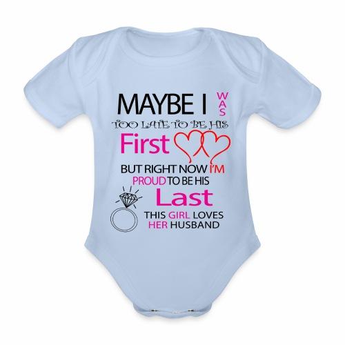 I love my husband - gift idea - Organic Short-sleeved Baby Bodysuit