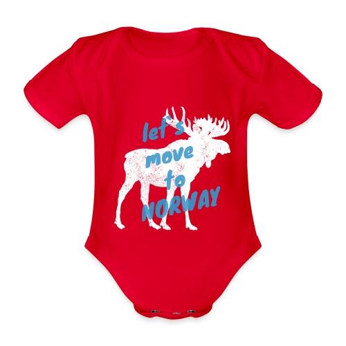 Norwegen Elch Auswandern Umzug Geschenk - Baby Bio-Kurzarm-Body