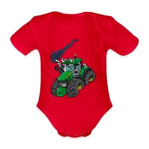 GREEN TRACTOR - Baby bio-rompertje met korte mouwen