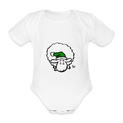 Weihnachtsschaf (grün) - Baby Bio-Kurzarm-Body