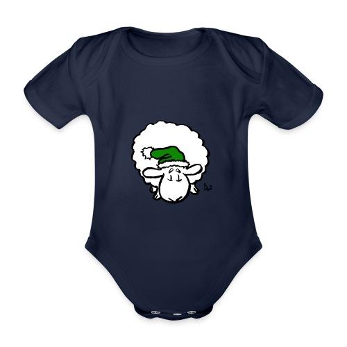 Santa Sheep (green) - Baby Bio-Kurzarm-Body