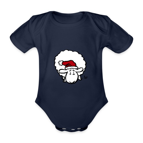 Santa Sheep (red) - Baby Bio-Kurzarm-Body