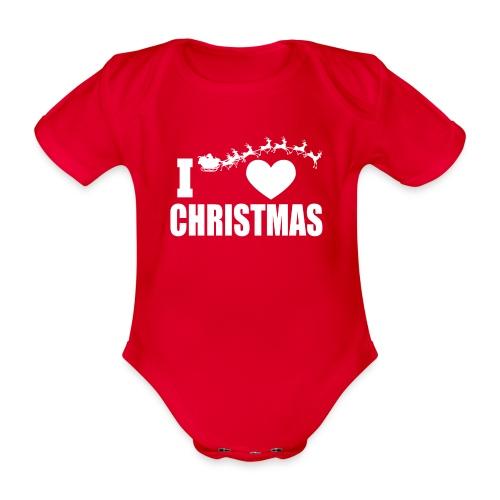 I Love Christmas Heart Natale - Body ecologico per neonato a manica corta