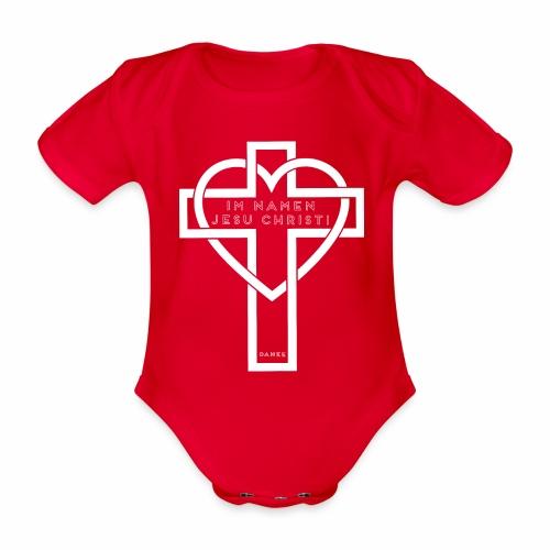 Im Namen JESU CHRISTI - weiß - Baby Bio-Kurzarm-Body