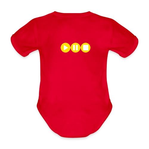 Play Pause Stop Gelb - Baby Bio-Kurzarm-Body