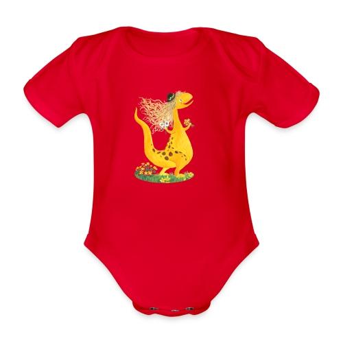 Sumpfdotterdino mit schwarzem Logo - KlingBim - Baby Bio-Kurzarm-Body