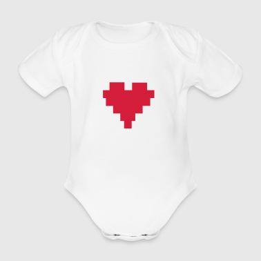 8 Bit Herz; 8 Bit Heart - Ekologiczne body niemowlęce z krótkim rękawem