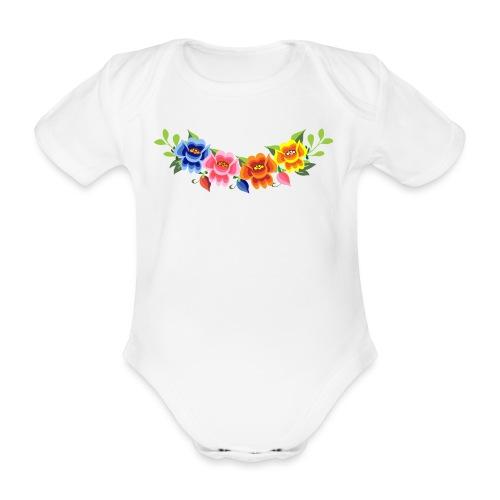 Flores Mexicanas - Body orgánico de maga corta para bebé