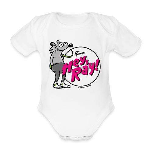 Hey Ray! Logo magenta - Baby Bio-Kurzarm-Body