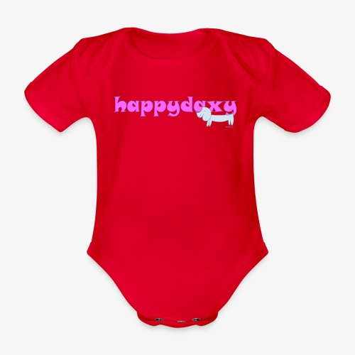 Happy Daxy Pink by Sue Anderson - Organic Short-sleeved Baby Bodysuit