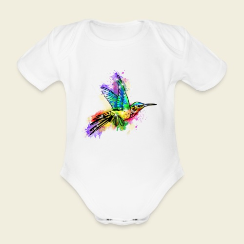 Farbexplosion Kolibri - Baby Bio-Kurzarm-Body