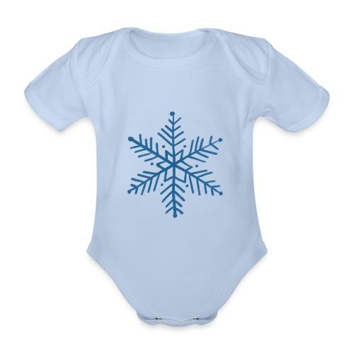 flocon de neige bleu - Body Bébé bio manches courtes