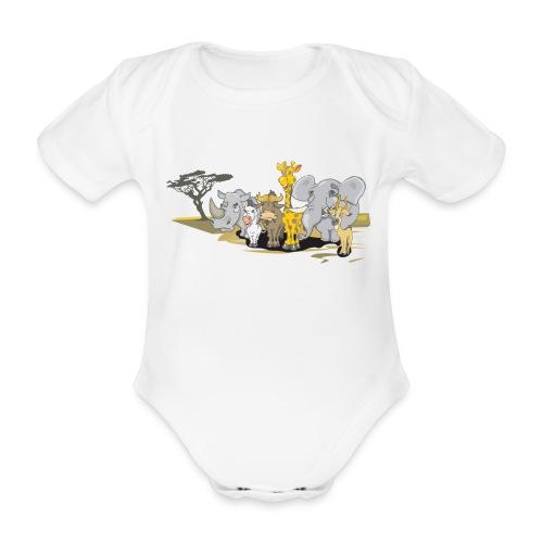djungle animals - Ekologisk kortärmad babybody