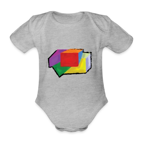 boxes with stroke - Organic Short-sleeved Baby Bodysuit