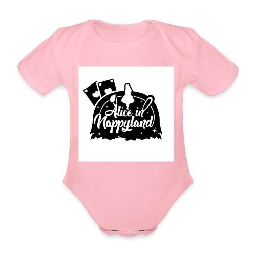 Alice in Nappyland TypographyWhite with background - Organic Short-sleeved Baby Bodysuit