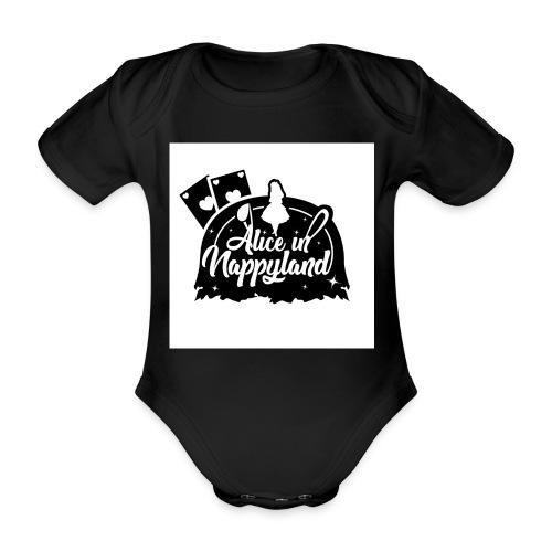 Alice in Nappyland TypographyWhite with background - Organic Short-sleeved Baby Bodysuit