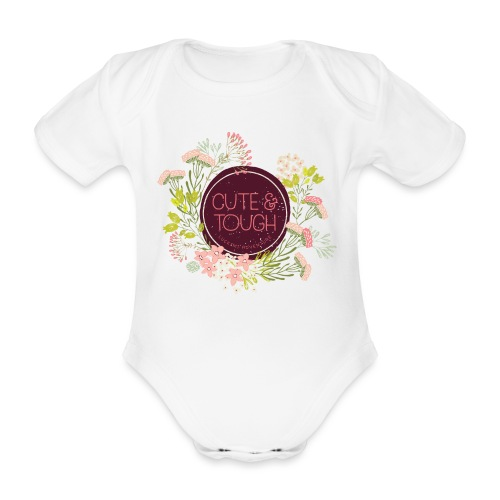 Cute and tough - wine red - Organic Short-sleeved Baby Bodysuit