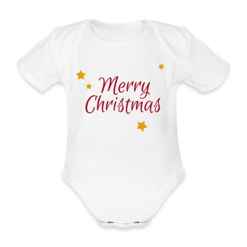 Merry Christmas, Frohe Weihnachten - Baby Bio-Kurzarm-Body