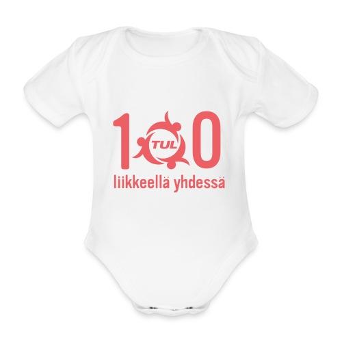 TUL100, punainen logopainatus - Vauvan lyhythihainen luomu-body