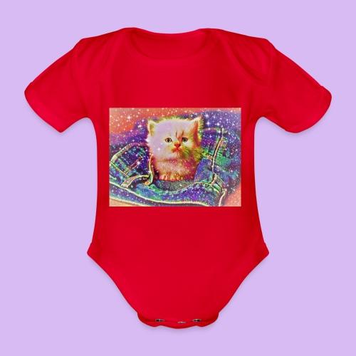 Gattino scintillante nella tasca dei jeans - Body ecologico per neonato a manica corta