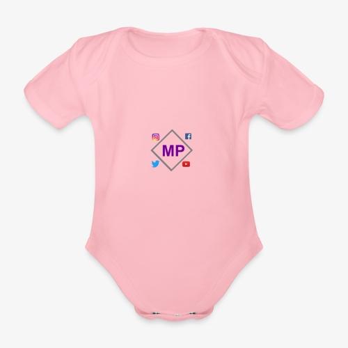 MP logo with social media icons - Organic Short-sleeved Baby Bodysuit