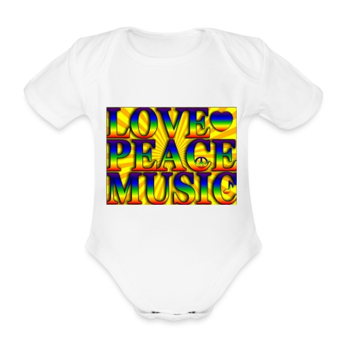 Love Peace and Music - Organic Short-sleeved Baby Bodysuit