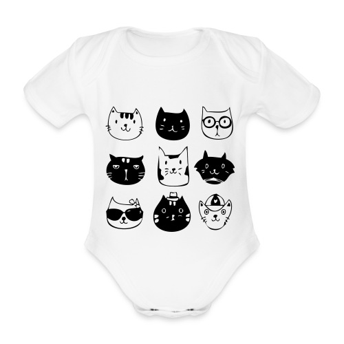 9 Katzen - Baby Bio-Kurzarm-Body