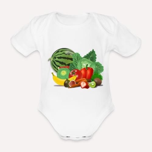 Vegetarian or vegetables lover? Print Design - Organic Short-sleeved Baby Bodysuit