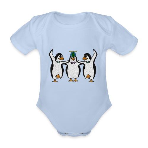 Penguin Trio - Organic Short-sleeved Baby Bodysuit