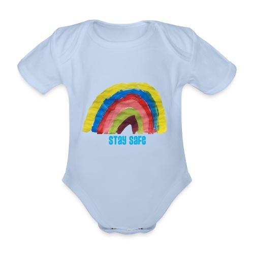 Stay Safe Rainbow Tshirt - Organic Short-sleeved Baby Bodysuit