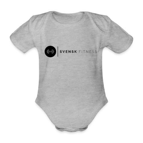 Linne med svart logotyp - Ekologisk kortärmad babybody