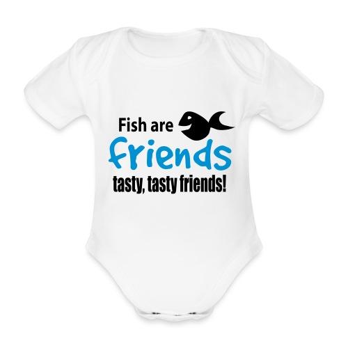 Fisk er venner - Økologisk kortermet baby-body