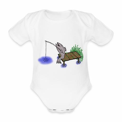 Fisch, Angler,Teich - Baby Bio-Kurzarm-Body