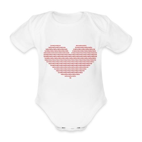 Isle of red Ascii Heart - Organic Short-sleeved Baby Bodysuit