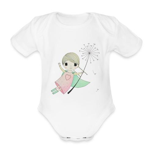 meisje aan uitgebloeide paardenbloem - Baby bio-rompertje met korte mouwen