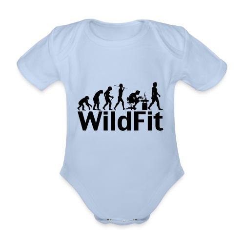 WildFit Logo Evolution in Schwarz - Baby Bio-Kurzarm-Body