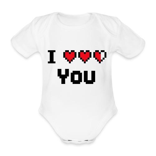 I pixelhearts you - Baby bio-rompertje met korte mouwen