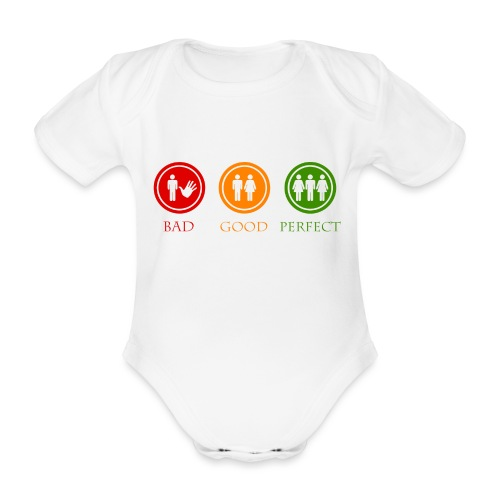 Bad good perfect - Threesome (adult humor) - Baby bio-rompertje met korte mouwen