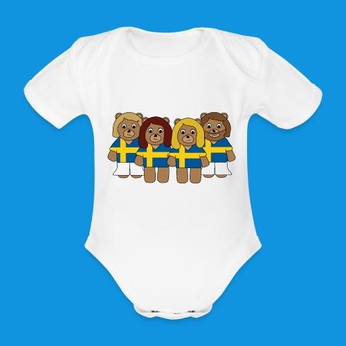 Abba Sweden Bears.png - Organic Short-sleeved Baby Bodysuit