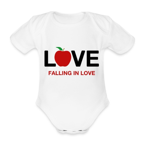 Falling in Love - Black - Organic Short-sleeved Baby Bodysuit