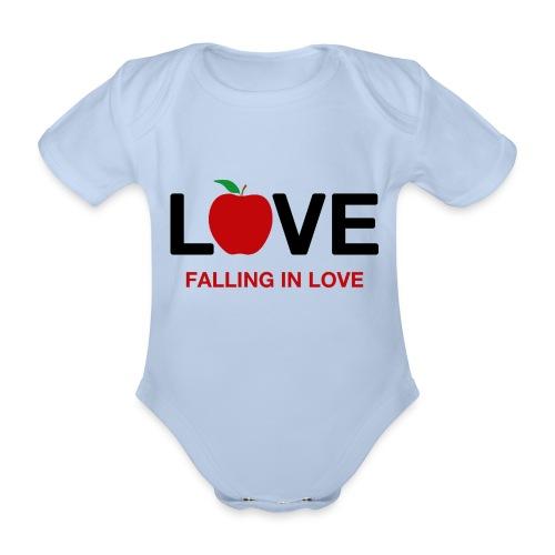 Falling in Love - Black - Organic Short-sleeved Baby Bodysuit