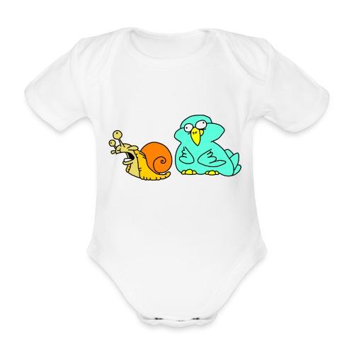 Schnecke und Vogel Nr 3 von dodocomics - Baby Bio-Kurzarm-Body
