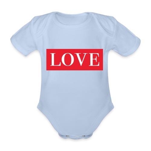 Red LOVE - Organic Short-sleeved Baby Bodysuit