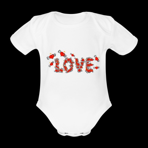 Flying Hearts LOVE - Organic Short-sleeved Baby Bodysuit